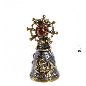 Am-1024 фигурка колокольчик-штурвал (латунь, янтарь)
