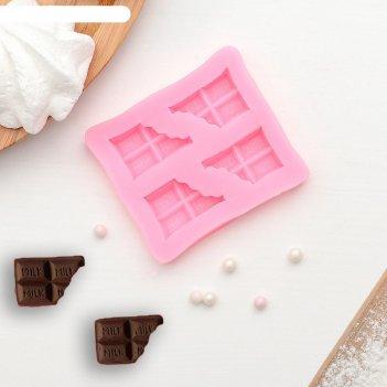 Молд силиконовый 6,9x6 см плитка шоколада, цвет микс