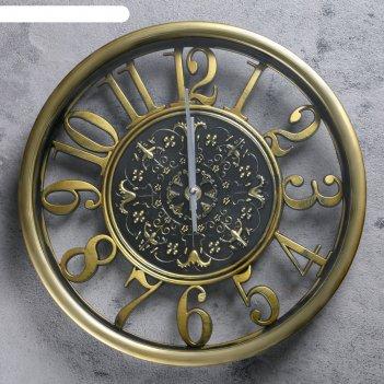 Часы настенные, серия цифры, круглые, цифры по кайме, циф-т с узором, золо