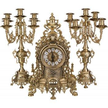 Комплект:часы каминные + 2 подсвечника из бронзы