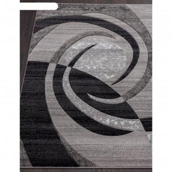 Прямоугольный ковёр mega carving d264, 80x150 см, цвет gray