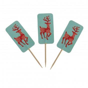 Шпажки для канапе снежный олень (набор 24 шт)