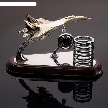 Набор настольный 3в1 (самолёт, часы, подставка д/ручек), 14.5х25 см