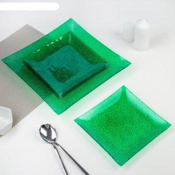 Сервиз столовый 7 предметов, цвет зелёный, подарочная упаковка