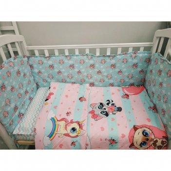 Комплект в кроватку 6 пр. «малыши совушки»