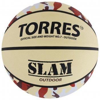 Мяч баскетбольный torres slam, р.7, бежево-бордово-оранжевый