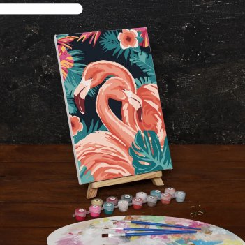 Картина по номерам на холсте фламинго, 30*20 см