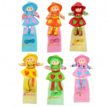 Мягкая игрушка кукла держатель+полотенце оля, цвета микс