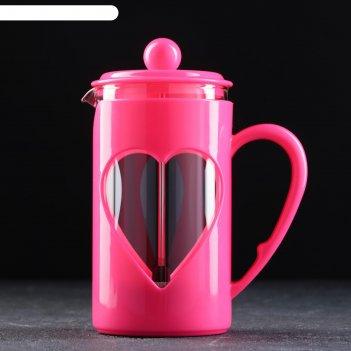 Френч-пресс доляна «комплимент», 600 мл, цвет розовый