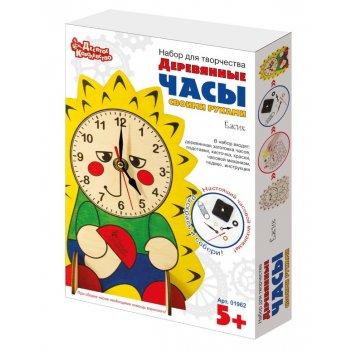 Набор для творчества. деревянные часы своими руками (с  красками) ёжик
