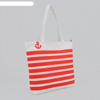 Сумка пляжная якорь, 1 отдел, подклад, на молнии, цвет бело-красный