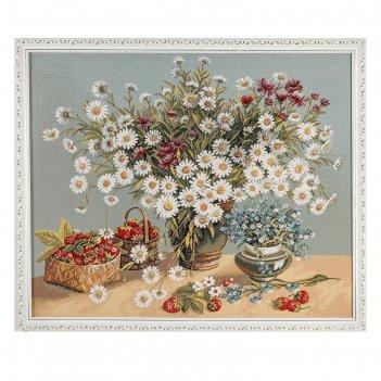Гобеленовая картина белые ромашки 73х60 см
