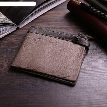 Кошелёк мужской бертон 2 отдела, отдел для кредиток, цвет хаки