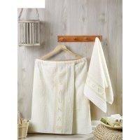 Набор для сауны мужской (килт, полотенце 50х90 см), цвет кремовый