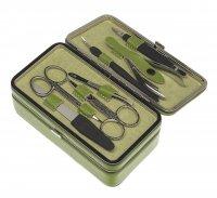 Маникюрный набор gd, 7 предметов. футляр: натур.кожа, цвет зеленый.