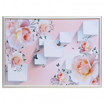 Картина розы и бабочки 50х70(53х73) см