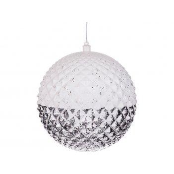 Декоративное изделие шар звездные грани с серебрянным орнаментом и глиттер