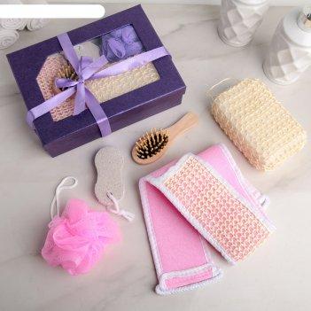 Набор банный подарочный, 5 предметов: 3 мочалки, расчёска, пемза, цвет мик