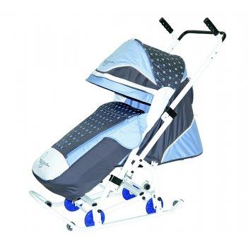0938-р14 санки-коляска скользяшки мозаика серый-голубой-белый