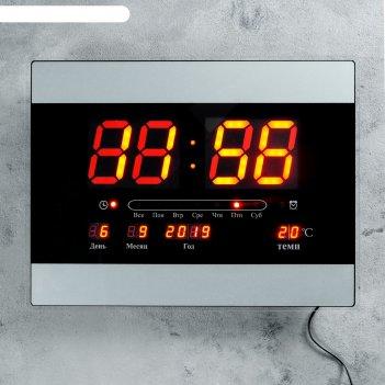 Часы настенные электронные с календарём и будильником, красные цифры, 40х3
