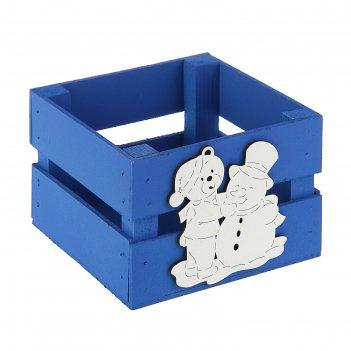 Ящик реечный «мишка» , 13 х 13 х 9 см,синий