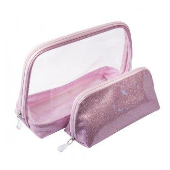 Набор косметичек dewal beauty серия северное сияние, розовый 24х9.5х17.5/1