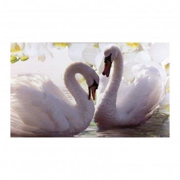 Картина на холсте лебеди в цветах
