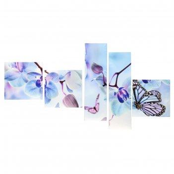 Модульная картина на подрамнике голубые цветы