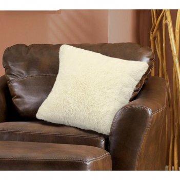 Наволочка, размер 48 x 48 см, искусственный мех, кремовая