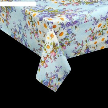 Клеенка столовая на тканевой основе 1,25х25 м ромашки и васильки