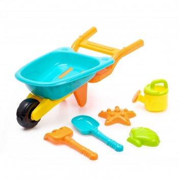 Песочный набор тачанка 6 предметов: тележка, лопатка, грабли, сито, 2 форм