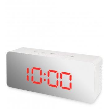 Ял-07-23/5 часы электронные мал. зеркальные (белые с красным циферблатом)