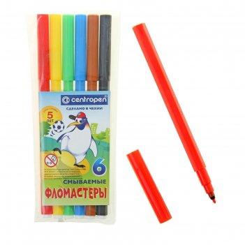 Фломастеры 6 цветов пингвины смываемые
