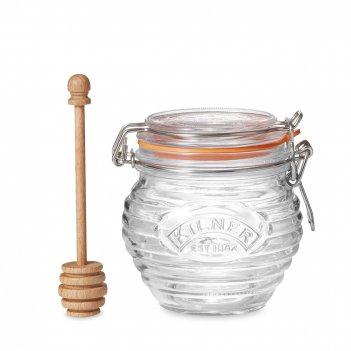 Банка для меда с деревянной ложкой, объем: 400 мл, материал: стекло, бук,