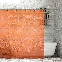 Штора для ванной 180x180 см большие цветы, peva, цвет оранжевый