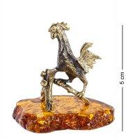 Am-1247 фигурка петух рассвет (латунь, янтарь)