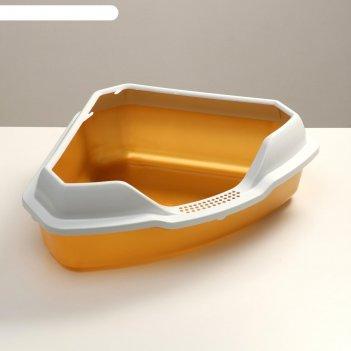 Туалет треугольный айша с бортом 56 х 42 х 17 см, золотой перламутр
