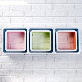 Набор настенных полок 3+3, цветной, внутри 23*23см, кубики снаружи 20*20см