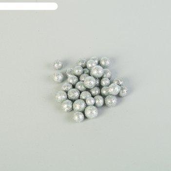 Наполнитель декоративный волшебные шарики, серебряный блеск, 10 гр/250 мл.
