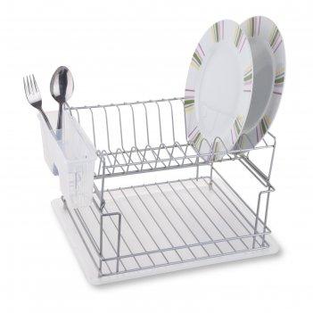Сушилка для посуды и приборов, настольная, с поддоном, цвет хром, kb010