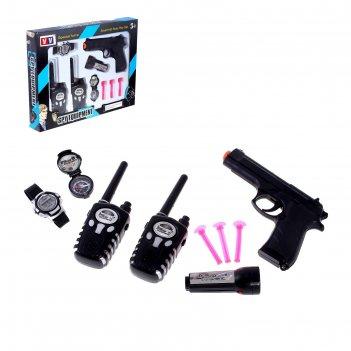 Набор шпиона спецагент: 2 рации, пистолет, часы, фонарик, компас
