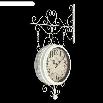 Часы настенные двойные, серия: садовые, леея, d=23 см, 61х33 см