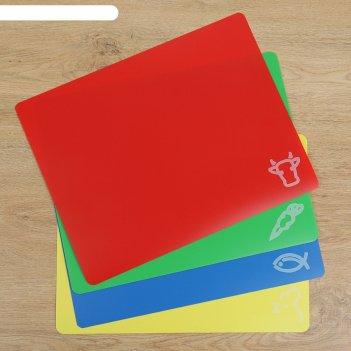 Набор досок разделочных прямоугольных гибких 38х30 см, 4 шт, цвета микс