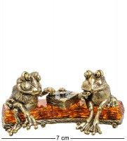 Am-1394 фигурка лягушки на пне (латунь, янтарь)