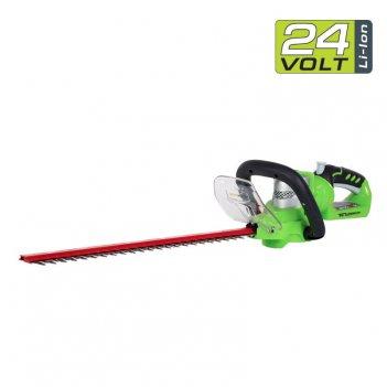 Кусторез аккумуляторный 57 см greenworks 24v g24ht57, садовая техника