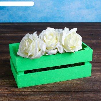 Ящик-кашпо двушка, большой, зелёное, 24,5х13,5х9см
