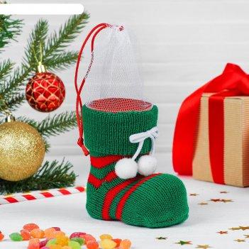 Конфетница сапожок красные полосы, на завязках, цвет зелёный. вместимость