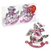 Украшение елочное пластик 9,5 см мишка на лошадке розовый (набор 2 шт)