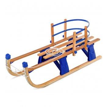 Детские складные деревянные санки со съемной спинкой small rider fold comp