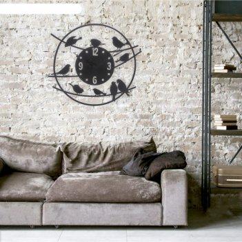 Часы настенные, серия: интерьер, из металла птицы, стиль лофт, диаметр 45